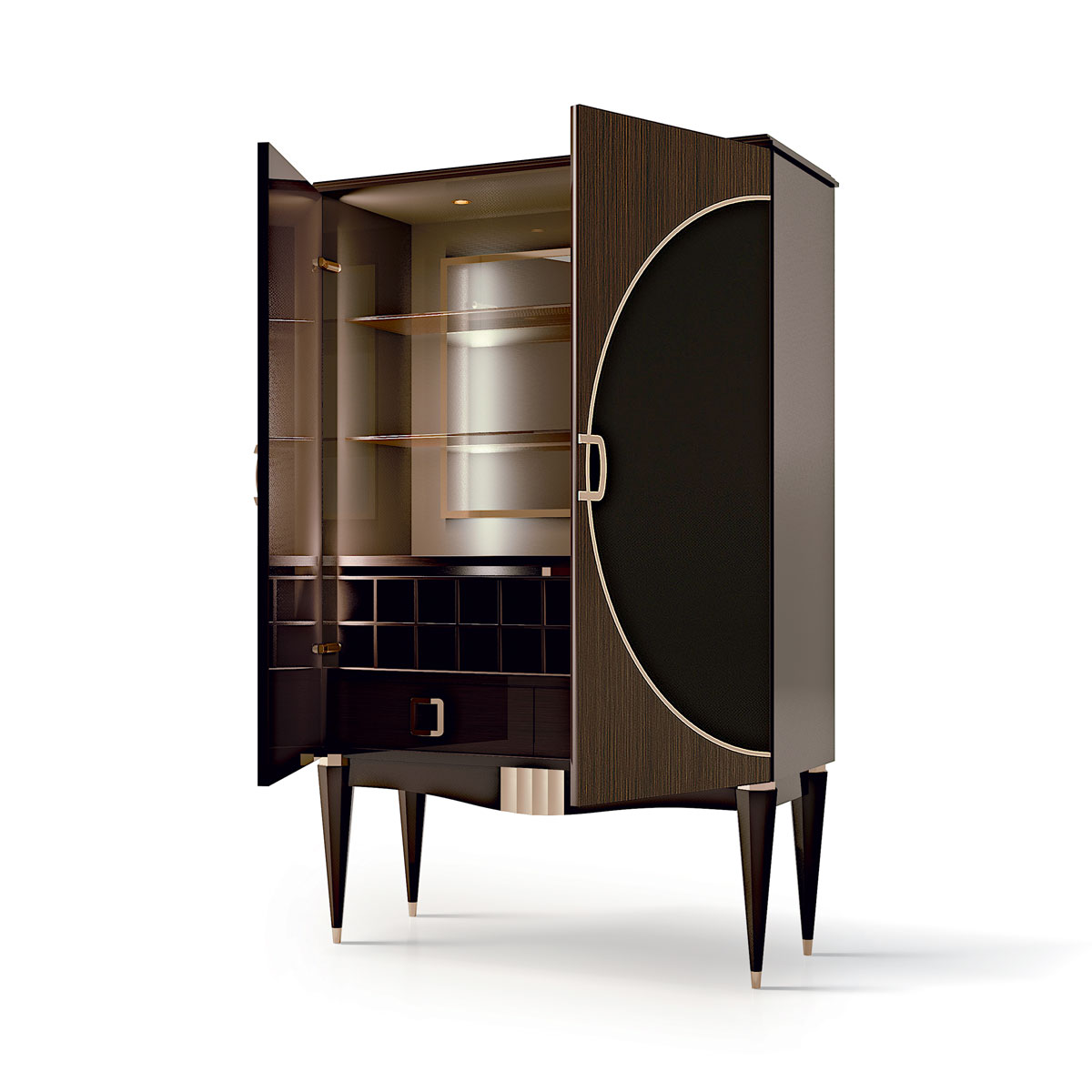 2 DOORS BAR WITH CANALETTO INSERT AND DECOR