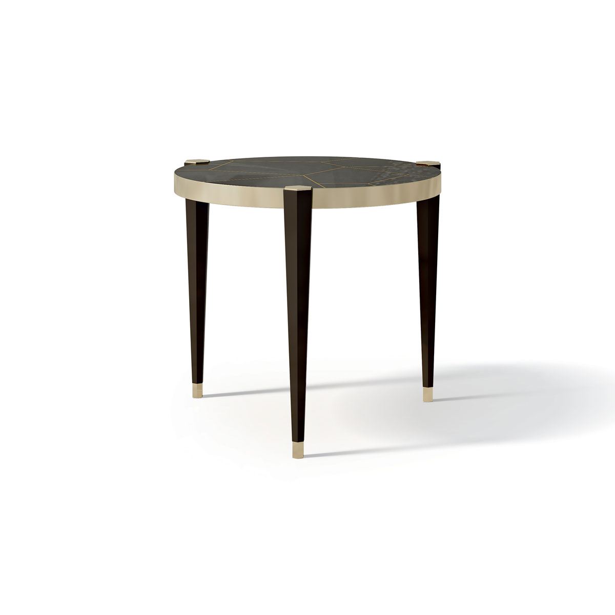 ROUND COFFEE TABLE WITH BRASS INSERT